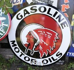 Signe De L'huile De Moteur Indienne Antique Vintage De Style Ancien! 40
