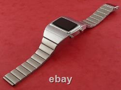 Silver 1970s Vieux-vintage Style Led LCD Digital Rare Rare Mens Montre 12/24 Hr Om
