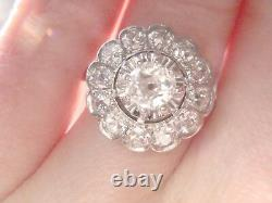 Stupéfiant French Edwardian Art Deco Platinum Old Cut Diamond 1.40ct Cluster Ring