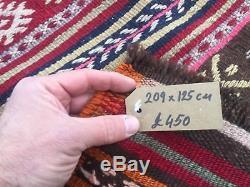 Tapis Kilim Antique Turc Vintage Vieille Maison De Campagne En Laine Kelim 209x125cm