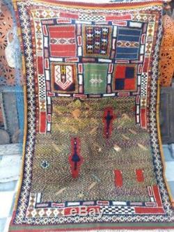 Tapis Marocain Antique. Vieux Tapis. Tapis Antiques Handmad Berber En Laine Vintage 0028