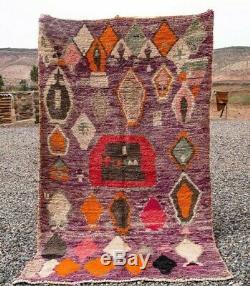 Tapis Marocain Boujad 100% Laine Fait Main Vieux Tapis Berbère Vintage (5 Pi X 8,7 Ft)