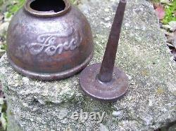 Très Vieux 1908 Original Ford Moteur Co. Huile Auto Can Accessoire Vintage Outil Kit Oe