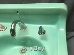 Vert Antique Céramique Aqua Marine Wall Mount Bath Sink Old Vtg Kohler 45-19e