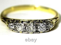 Victorian 0.40ct Old Cut Diamond 18ct Yellow Gold Boat Taille De La Bague K 1/2 5 1/2