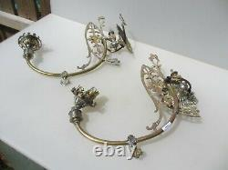 Victorian Converted Brass Gas Wall Lights Old Baroque Gilt Antique Projet