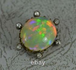 Victorian Impressionnant Opal Et Vieux Diamant Coupé Céleste Brooch