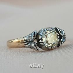 Victorien. 56 Old Cut Mine De Diamants Bague De Fiançailles Antique Solitare Or Vintage