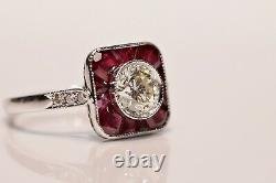 Vieille Bague Originale 18k Gold Art Déco Style Natural Diamond And Ruby Decorated Ring
