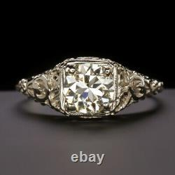 Vieille Coupe. Bague De Fiançailles Diamant Vintage 89ct Or Blanc Antique Filigrane Floral