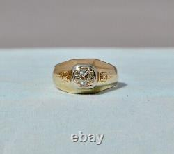 Vieille Coupe Européenne Antique. 56 Ct Natural Diamond Mens Ring 14k Or Massif 7,75