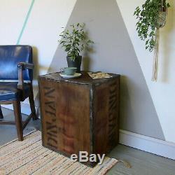 Vieux Coffre Thé Coffre Boîte De Rangement Table De Chevet Box Crate En Bois Rustique Vintage 1970