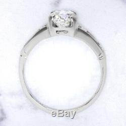 Vieux European Cut Diamond Vintage Bague De Fiançailles G Si2 Platinum Antique 0.84ct