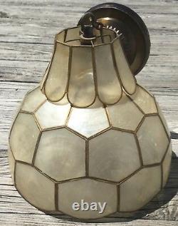 Vieux Lustre Antique De Lampe De Swag De Coquillage De Vtg Capiz D'ombre De Coquille