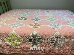 Vieux Quilt 8 Point Étoile 72x78 Pink Hand Quilted Great Old Tissu