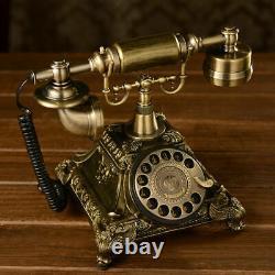 Vieux Téléphone Antique Old Moded Golden Corded Retro Bureau De Téléphone À La Main