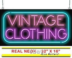 Vieux Vêtement Neon Panneau Jantec 32 X 16 Trift Store Utilisé Antique Vieux