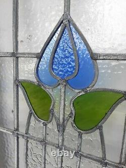 Vieux Vieux Style Art Nouveau Verre Teinté Crittal Windows 36,5x20 Paire (2)