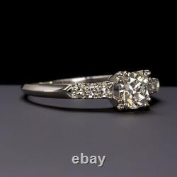 Vintage 0.72ct H Vs2 Old European Cut Diamond Bague De Fiançailles Platinum Antique