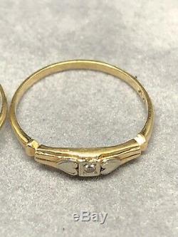Vintage 14k D'or Domaine Bague De Fiançailles De Mariage Set Antique Vieux