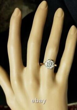 Vintage 14k Or Platine Diamant Bague Old Mine Cut 0.82ct Si2 Circ 1900's