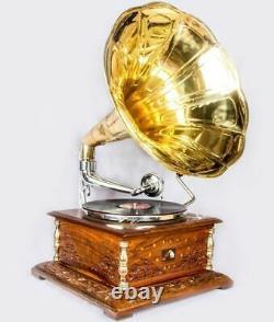 Vintage 1880 Hmv Gramophone Avec Antique Musique Ancienne Place Box Phonographe Bg 05