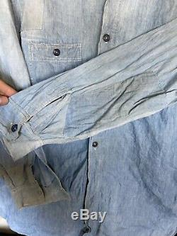 Vintage 1920 1930 Hommes Chambray Workwear Shirt Jc Penney Jugulaire Ancienne Ferme