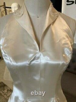 Vintage 1940s Liquid Satin Robe De Mariée Halter Old Hollywood Rockabilly Mariée