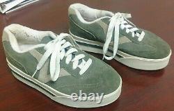 Vintage 90s Vans Big V Old Skool Green & Tan Leather Upper Platform Sz 8.5 Rare