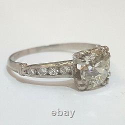 Vintage Anticique Round Old Mine Cut 2.00ct Diamond Anneau Platinum