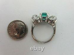 Vintage Antique 18k Or Blanc 2.25 Carat Emerald Ancienne Mine Diamond Anneau 3.55 Ct