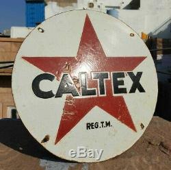 Vintage Antique Old 1930 Très Rare Caltex Oil Annonce. Conseil En Émail Vitrifié Sign