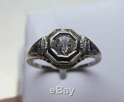 Vintage Antique Or Blanc 18k. Bague De Fiançailles Avec Diamant De 47 Carats - 6/4