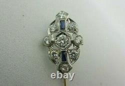 Vintage Antique Platinum Sapphire Et 0.75 Ct Diamond Stick Pin Old European