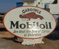 Vintage Antique Très Rare Mobil Oil 1930 Stand Émail Board Sign