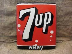 Vintage Courbé Stout 7up Sign Antique Antique Cola Soda Pop Store Signes 8427