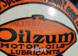 Vintage Des Années 1930, Ancienne Huile Très Rare Oilzum Adv. Enseigne En Porcelaine D'émail