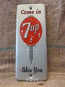 Vintage Des Années 1950 En Métal 7up Porte Poussoir Signe Antique Ancien Cola Soda Pop Store 7830