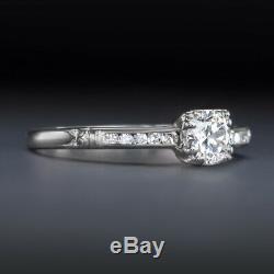 Vintage F Si1 Diamant Platine Bague De Fiançailles Vieux Cut Européen Classique Antique