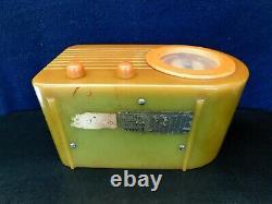 Vintage Gem Mint Pre War 2 Onyx Vert Bullet Old Antique Fada Catalin Tube Radio