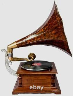 Vintage Hmv Antique Vieille Machine En Bois Gramophone Collectible Phonographe Bg 08