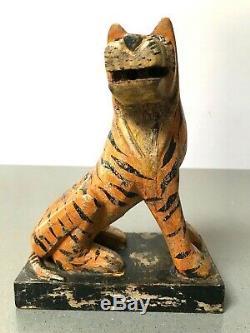 Vintage Jouets En Bois Indiens. Tigre Du Bengale. Patine Merveilleux. Nouveau Stock Ancien