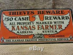 Vintage Kansas Cappers Ferme Signe Agricoles Anciens Agriculteurs Anciens Signes Avant-coureurs 9964