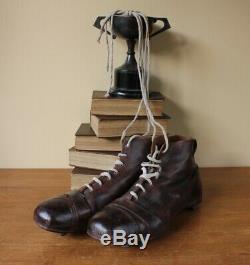 Vintage Le Cert Bottes En Cuir Football. Antique Vieux Chaussures De Soccer Crampons Taille 10