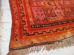Vintage Marocain Azilal Rug Zone Artisanale Tapis Vieille Laine Tribale Berbère Kilim