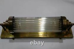 Vintage Old Antique Art Déco Brass & Glass Rod Light Fixture Wall Sconces Lampe