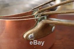 Vintage Old Antique Jeu De 4 Cuivre Tin Doublé Casserole. # 3