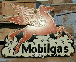 Vintage Old Antique Rare Gaz Cheval Mobil 1930 Oil Émail Board Sign