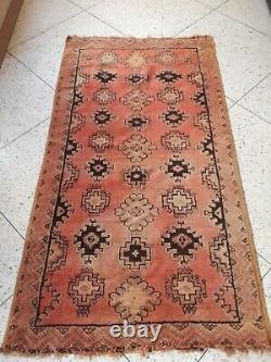 Vintage Old Carpet Marocain Berber Rug Oriental, 6,9 X 3,7 Pi