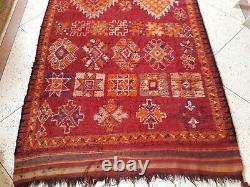 Vintage Old Carpet Moroccan Berber Rug Oriental, 11.4 X 4.9 Ft
